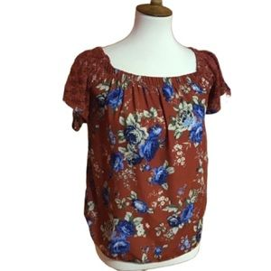Boho hippie chic roses n lace peasant top